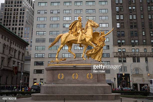 A general view of the golden equestrian statue of William Tecumseh Sherman in Grand Army Plaza at the intersection of Central Park South and Fifth...