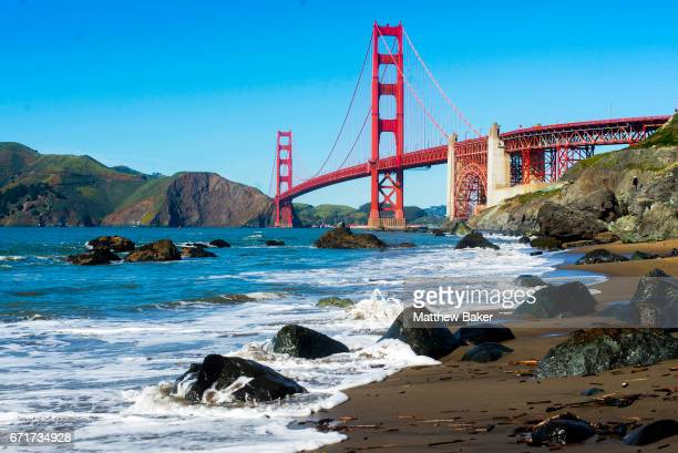 General view of the Golden Gate Bridge seen from Marshall's Beach on March 3, 2017 in San Fransisco, CA.