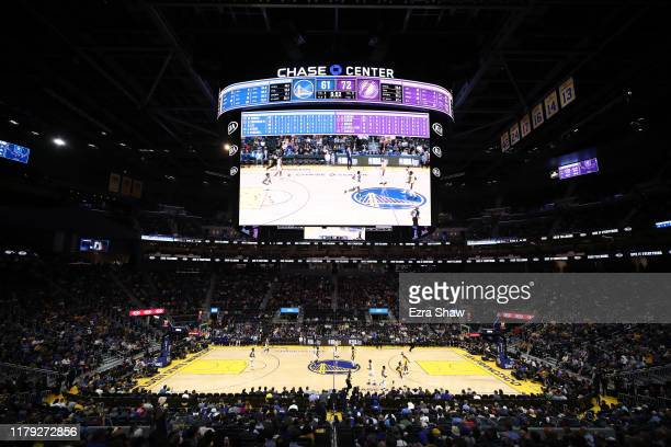 A general view of the Golden State Warriors playing against the Los Angeles Lakers in a preseason game at Chase Center on October 05 2019 in San...