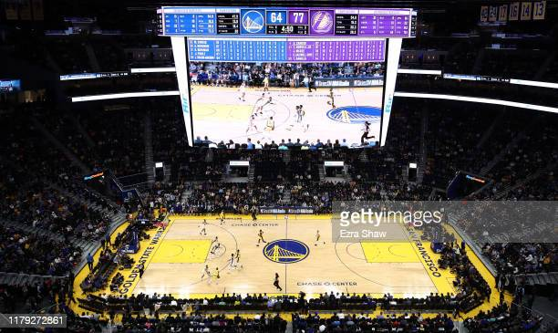 General view of the Golden State Warriors playing against the Los Angeles Lakers in a preseason game at Chase Center on October 05, 2019 in San...