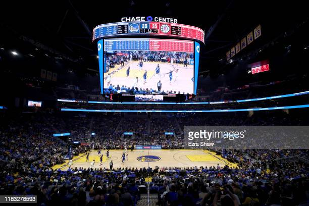 A general view of the Golden State Warriors playing their first regular season game against the LA Clippers at Chase Center on October 24 2019 in San...