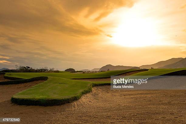 General view of the golf course for the Rio 2016 Olympic Games in the Barra da Tijuca neighborhood on July 6 2015 in Rio de Janeiro Brazil The city...