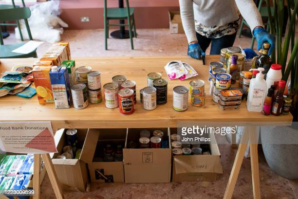 """A general view of the Goose Green Mutual Aid and Southwark's """"Pecan"""" food collection point held at OruSpace in East Dulwich during the coronavirus..."""