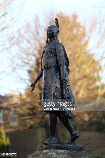 A general view of the Grade II lifesize bronze of Pocahontas at the Church of St George in Gravesend Kent The statue had its listed status updated to...