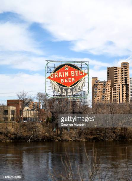 A general view of the Grain Belt Beer sign and the Mississippi River on April 9 2019 in Minneapolis Minnesota The week in Minnesota started with two...