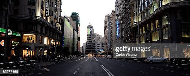 General view of the Gran Via street on March 18 2009 in Madrid Spain