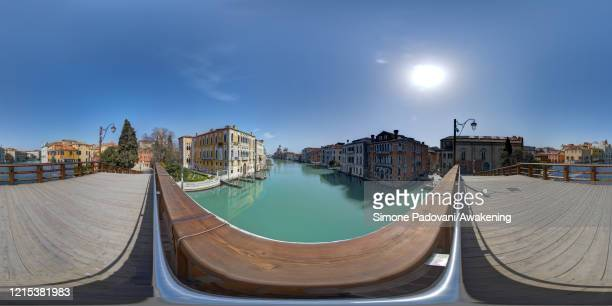 General view of the Grand Canal and of the Madonna della Salute church from the Accademia bridge as lockdown continues due to the coronavirus...