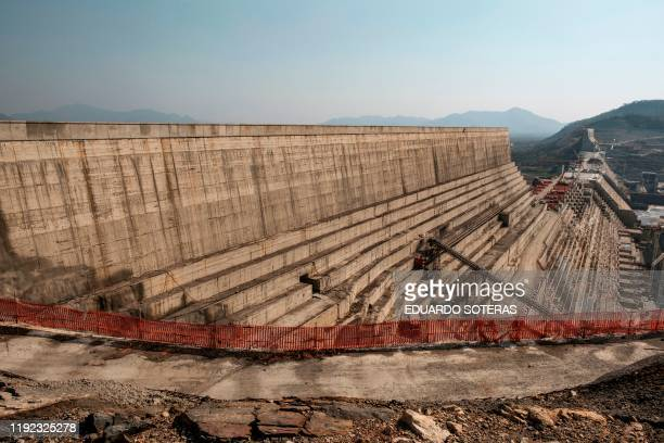 A general view of the Grand Ethiopian Renaissance Dam near Guba in Ethiopia on December 26 2019 The Grand Ethiopian Renaissance Dam a 145metrehigh...