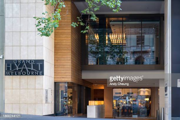 General view of the Grand Hyatt Hotel in Melbourne on February 04, 2021 in Melbourne, Australia. Victoria has reintroduced COVID-19 restrictions...