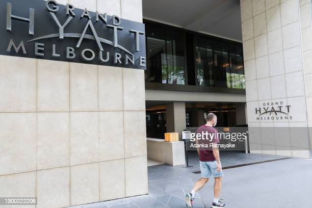 General view of the Grand Hyatt hotel on February 04, 2021 in Melbourne, Australia. Victoria has reintroduced COVID-19 restrictions after a hotel...