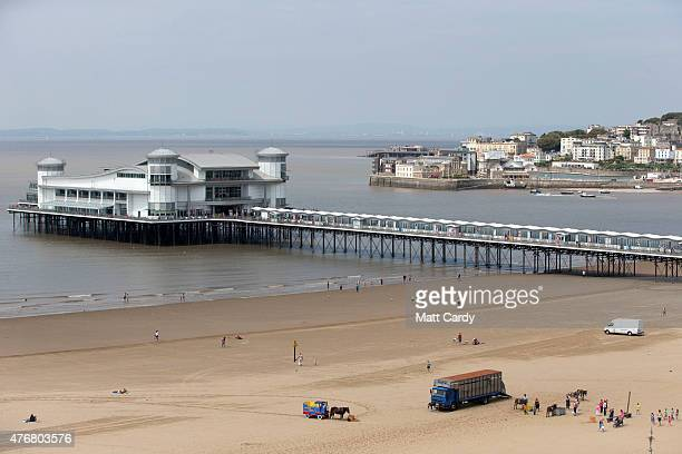 A general view of the Grand Pier on Weston's seafront is seen as people enjoy the fine weather on June 11 2015 in WestonSuperMare England Many...