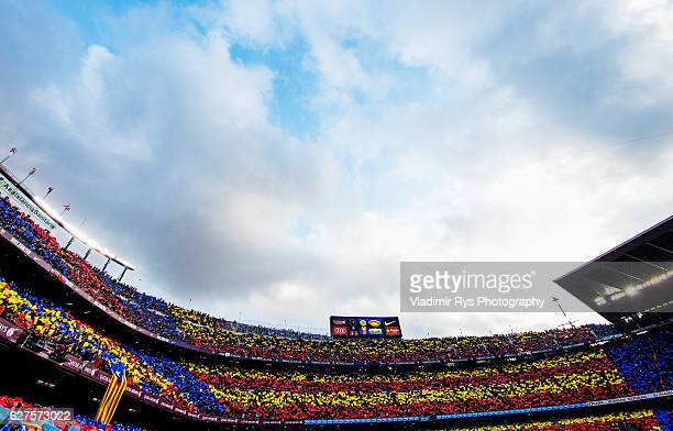 General view of the grand stands is seen as the team enter the pitch prior to the La Liga match between FC Barcelona and Real Madrid CF at Camp Nou...