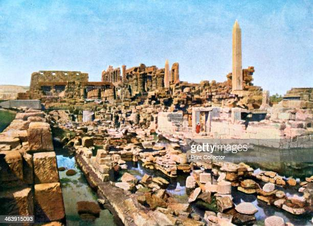 General view of the Grand Temple of Amun-Re, Karnak, Luxor, Egypt, 20th Century. View of the ruins of the largest temple at the great temple complex...