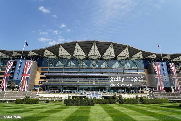 A general view of the grandstand at Ascot Racecourse on July 27 2018 in Ascot United Kingdom