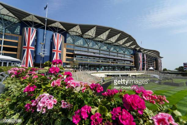 General view of the grandstand at Ascot Racecourse on July 27, 2018 in Ascot, United Kingdom.