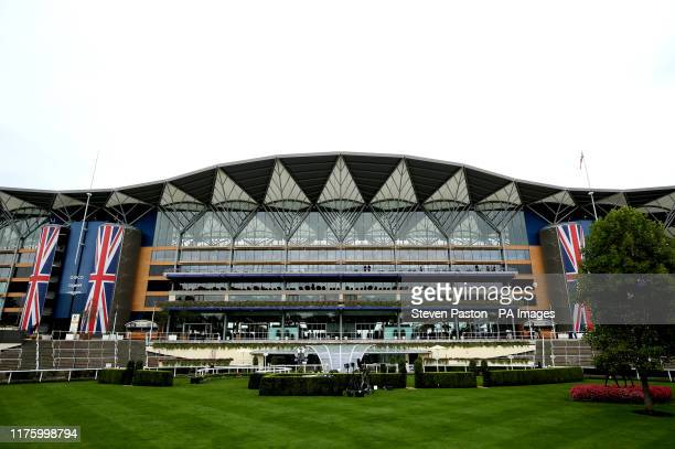 General view of the grandstand at Ascot Racecourse.