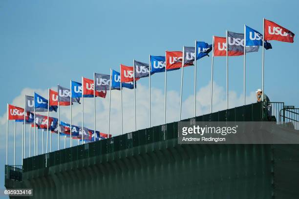 A general view of the grandstand during a practice round prior to the 2017 US Open at Erin Hills on June 14 2017 in Hartford Wisconsin