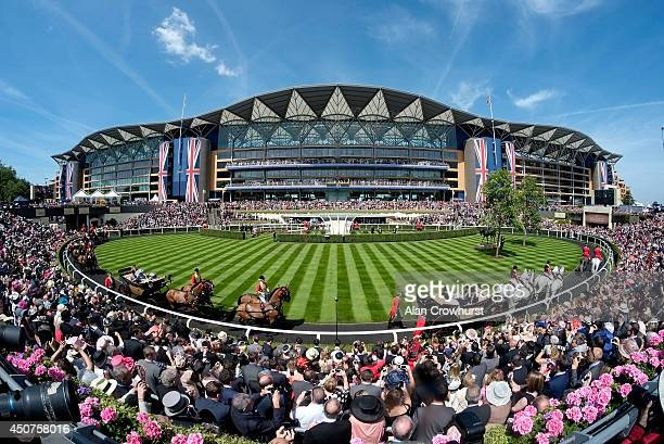 A general view of the Grandstand during the Royal Procession on day one of Royal Ascot at Ascot Racecourse on June 17 2014 in Ascot England