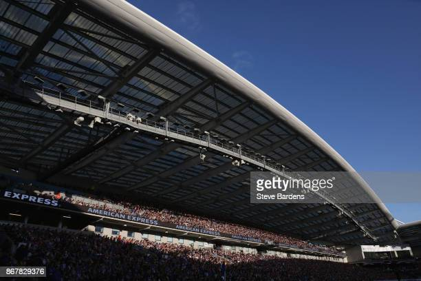General view of the grandstand inside the Amex Stadium during the Premier League match between Brighton and Hove Albion and Southampton at Amex...