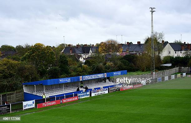 General view of the grandstand prior to the FA Cup First Round match between Wealdstone and Colchester United at Freebets.co.uk Stadium on November...