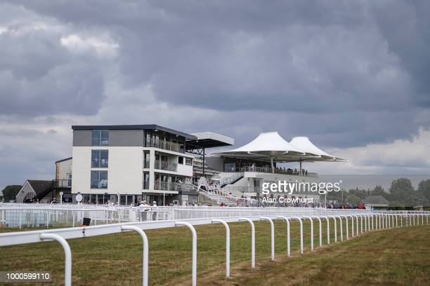 A general view of the grandstands at Bath Racecourse on July 17 2018 in Bath United Kingdom
