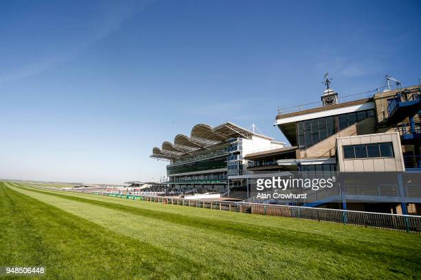 A general view of the grandstands at Newmarket racecourse on April 19 2018 in Newmarket England