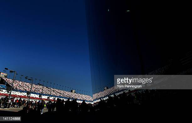 A general view of the grandstands during qualifying for the NASCAR Nationwide Series Sam's Town 300 at Las Vegas Motor Speedway on March 10 2012 in...