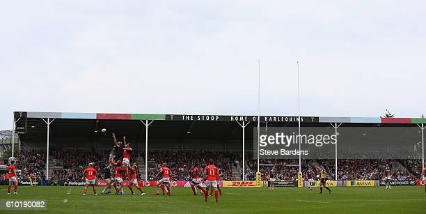 General view of the Grandstands during the Aviva Premiership match between Harlequins and Saracens at Twickenham Stoop on September 24, 2016 in...