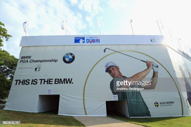 A general view of the graphics in the tented village during practice for the BMW PGA Championship at Wentworth on May 21 2018 in Virginia Water...