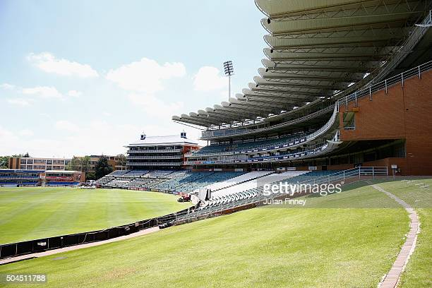 General view of the grass bank during England media access at the Wanderers Stadium on January 11, 2016 in Johannesburg, South Africa.