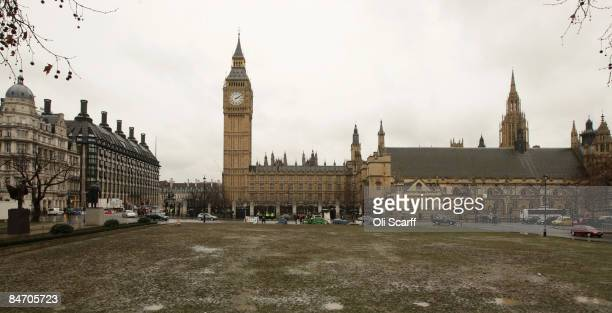General view of the grass in Parliament Square which has been turned to mud after heavy snowfall on February 9, 2009 in London, England. Adverse...