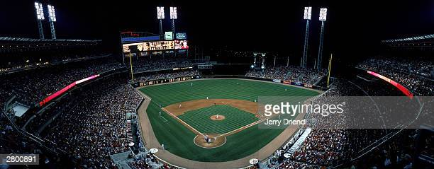 General view of the Great American Ball Park from home plate upper lever during the National League game between the Cincinnati Reds and the Houston...