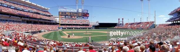 General view of the Great American Ball Park from the first base line lower level during the National League game between the Cincinnati Reds and the...