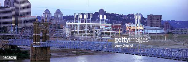 General view of the Great American Ball Park with the Cincinnati skyline at dusk during the National League game between the Houston Astros and the...