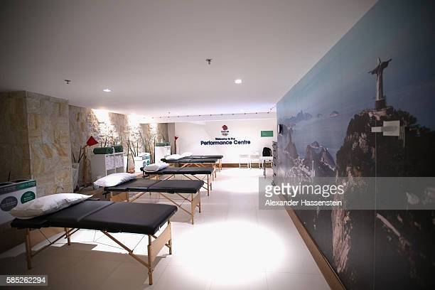 General view of the Great Britain physio treatment room at the Olympic Village ahead of the Rio 2016 Olympic Games on August 2, 2016 in Rio de...