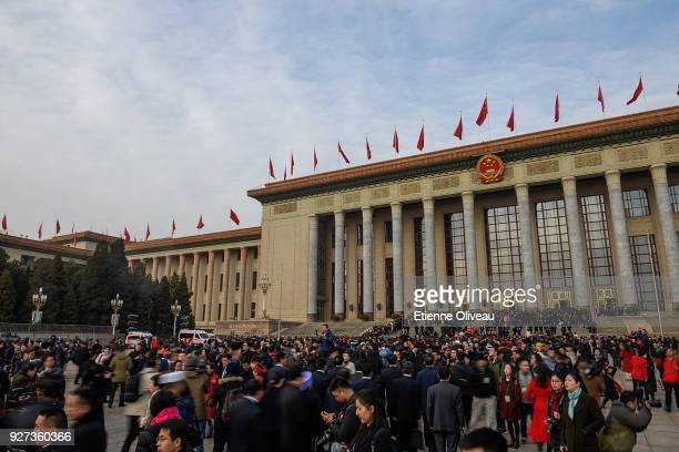 A general view of The Great Hall of People before opening session of the 13th National People's Congress on March 5 2018 in Beijing China