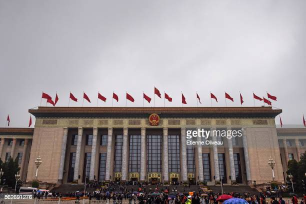 General view of the Great Hall of the People after the opening session of the 19th Communist Party Congress on October 18, 2017 in Beijing, China....