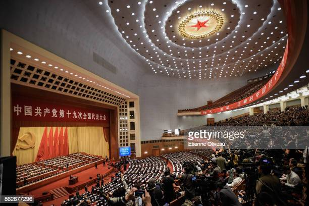 General view of the Great Hall of the People as Chinese President Xi Jinping delivers a speech during the opening session of the 19th Communist Party...