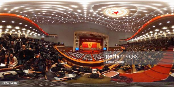 A general view of the Great Hall of the People during the closing of the 19th Communist Party Congress at the Great Hall of the People on October 24...