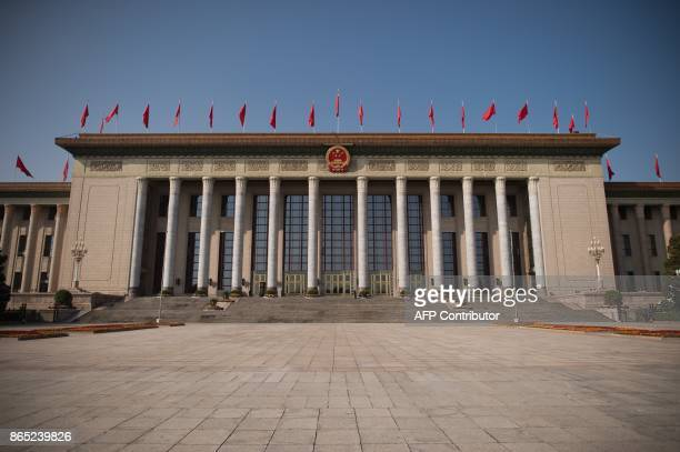 A general view of the Great Hall Of The People during the Communist Party's 19th Congress in Beijing on October 23 2017 / AFP PHOTO / NICOLAS ASFOURI