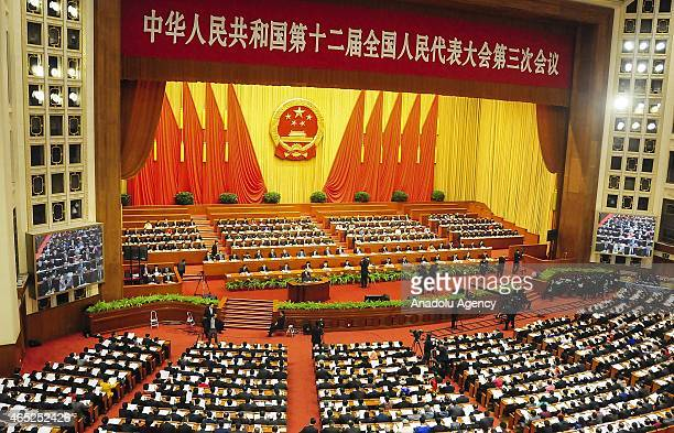 A general view of the Great Hall of the People during the opening of the third session of the 12th National People's Congress in Beijing China on...