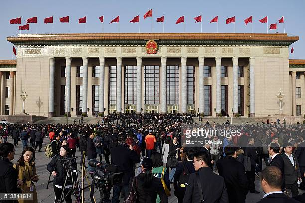 General view of the Great Hall of the People during the opening session of the China's National People's Congress on March 5 2016 in Beijing China...