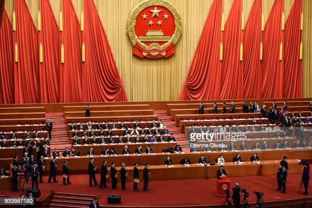 General view of the Great Hall of the People during the vote of the seventh plenary session of the 13th National People's Congress on March 19, 2018...