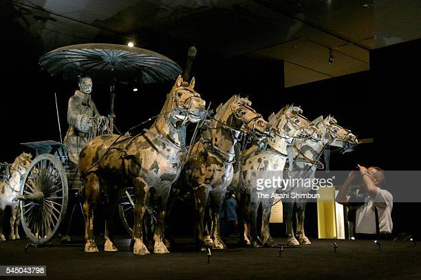 A general view of 'The Great Terracotta Army of China's First Emperor 'Exhibition at the National Museum of Art Osaka on July 5 2016 in Osaka Japan...