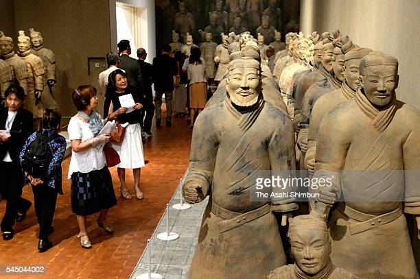 A general view of 'The Great Terracotta Army of China's First Emperor' Exhibition preview at the National Museum of Art Osaka on July 4 2016 in Osaka...