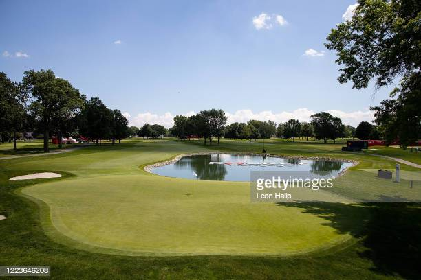 General view of the green at the Detroit Golf Club during the practice session for the Rocket Mortgage Classic on June 30, 2020 in Detroit, Michigan.