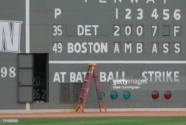 General view of the Green Monster at Fenway Park before the game between the Boston Red Sox and the Detroit Tigers at Fenway Park in Boston,...