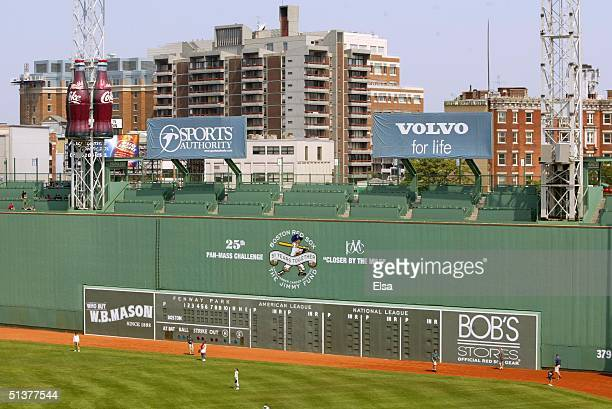 A general view of the 'Green Monster' at Fenway Park on July 1 2004 in Boston Massachusetts