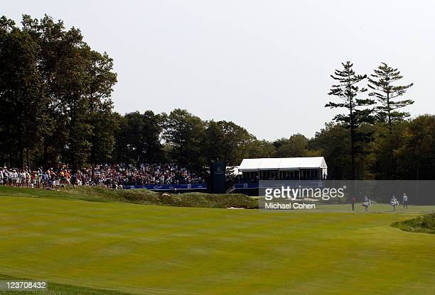 General view of the green on the 18th hole during the third round of the Deutsche Bank Championship at TPC Boston on September 4, 2011 in Norton,...