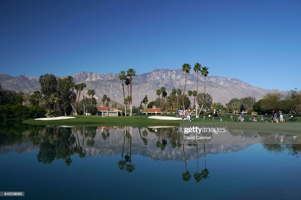 A general view of the green on the par 3, fifth hole as Lexi Thompson and Michelle Wie approach the green during the second round of the 2018 ANA Inspiration on the Dinah Shore Tournament Course at Mission Hills Country Club on March 30, 2018 in Rancho Mirage, California.